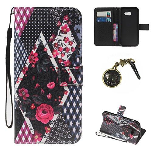 Preisvergleich Produktbild PU Galaxy A5 (2017) Hülle case vintage ledertasche, Handy Schutzhülle für Samsung Galaxy A5 (2017) Hülle Leder Wallet Tasche Flip Brieftasche Etui Schale (+Staubstecker) (3)