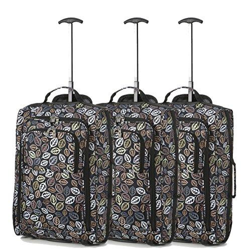 Lot de 3 Super léger de voyage bagages Cabine Valise Wheely Sacs Sac à Roulettes (Feuilles Noir)