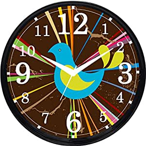 Cartoonpur Round Large Designer Decorative Rooster Wall Clock - Ticking 11-Inch Wall Clock for Home / Bedroom / Living Room / Kitchen