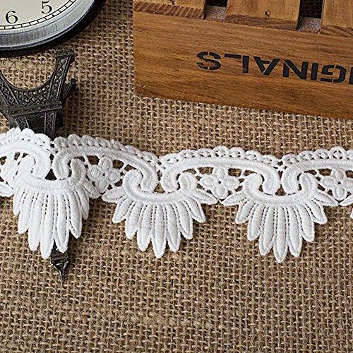Weiß 2Meter gewelltem Baumwolle Venise Spitzenband Vorhänge Zubehör Kostüme Supplies 5,1cm Breite