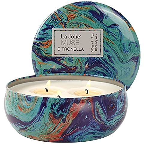 Citronella Candles Scented 330g, Mosquito Control Insect Repellent 75 Hours Burn, Soy Wax 3 Wicks Tin, Outdoor and Indoor
