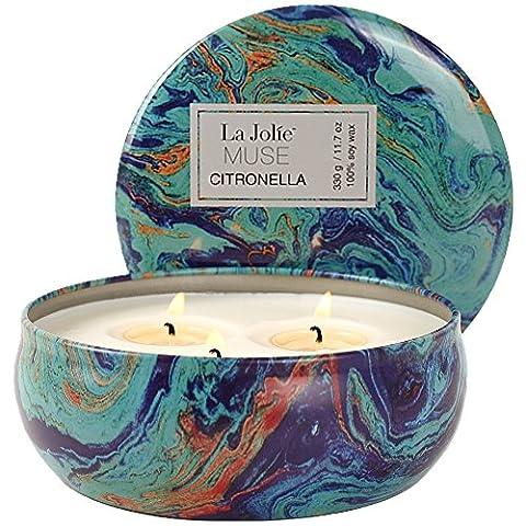 Citronella Kerze Anti Mücken 100%Sojawachs Zitronella Duftkerze Candle 3Dochte 70Std 330g