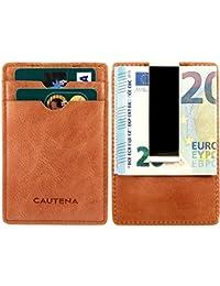 CAUTENA Premium Echtleder Karten-Etui mit Geldklammer | Kreditkarten-Etui Portemonnaie mit Geldscheinklammer und RFID Schutz | edel und modern
