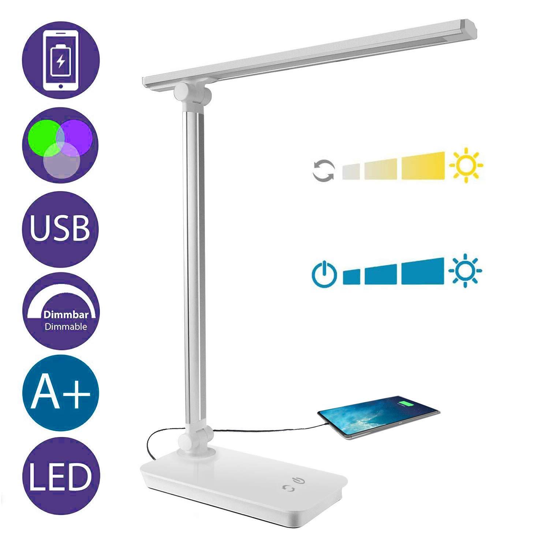 Lámpara Escritorio LED, Lámparas de Mesa USB Regulable Recargable, Plegable Luz, Cuidado Especial Para los Ojos, 5 modos de colores x 3 niveles de dimmer, Control táctil, bajo consumo de energía