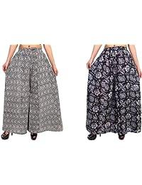 Fashion Store Women's Cotton Stylish Printed Full Flair Multi-Colored Plazo (Free Size, Set Of 2) - B0774YHLWQ