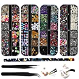 4 boxen nail art strass kit multidesign accessoires met 2 pincetten decoratieve diamanten kristallen parels edelstenen bont gemengd kleurrijke paardenogen strass metalen klinknagels voor nagels DIY decoratie