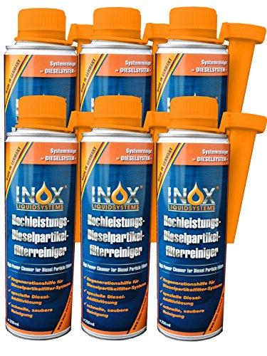 INOX® Dieselpartikelfilter-Reiniger Additiv, 6 x 250ml - Hochleistungs-Kraftstoffzusatz für alle Dieselmotoren, Reinigung während des Fahrbetriebs