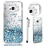 Custodia per Samsung Galaxy S8 2017 3D ,Cover per Samsung Galaxy S8 2017 ,Bonice Elegante Creativo Lovely Colorful Bling Liquido Flowing Sabbie mobili Quicksand Stella Star Cristallo Crystal Scintillio Sparkle Love Hearts Stars Shinny Glitter Floating Liquid Anti Scratch Gel Morbido TPU Trasparente Protettiva Bumper Cover Case - Blu