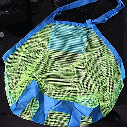 Ruikey extra large Family mesh bag Sand away Beach Toys bag, Tessuto Oxford, Green, 45 Green