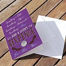 Lucky Sixpence Tarjeta para la novia–Celebración morado con sobre