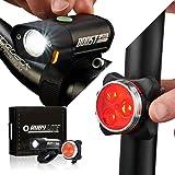 RUBY LITE Bike Lights, USB Rechargeable LED set - Super bright 500 Lumen Front Headlight - Powerful 120 LM Back Tail Light -