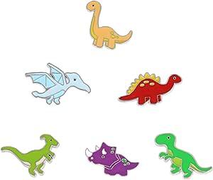 Mein HERZ 6 Pz Spille di Dinosauro, Spilla di Bavero Distintivi, Spille smaltate a forma di cartoni animati simpatici distintivi per vestiti, cappelli, zaini, regalo per ragazze e donne