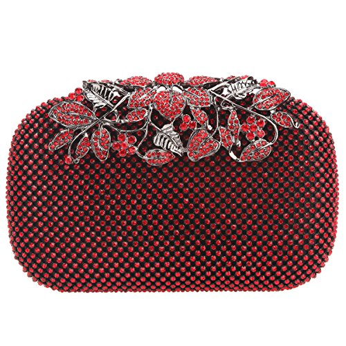 Bonjanvye Flower Purses with Crystal Rhinestones Evening Clutch Bags Red - Crystal Red Clutch