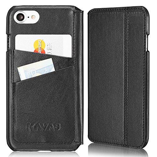 KAVAJ iPhone 8 iPhone 7 Tasche Leder Dallas Schwarz iPhone 8 Ledertasche mit Kartenfach für Original Apple iPhone8 aus Echtleder Hülle Case Etui Lederhülle Ledercase Handyhülle Echtledertasche
