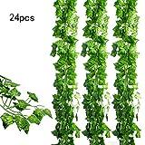 JPSOR 24 Stück Künstliche Grün Fake Efeublatt Efeu Girlanden Ivy Blätterkranz Hängen für Hochzeit Party Garten Wanddekoration
