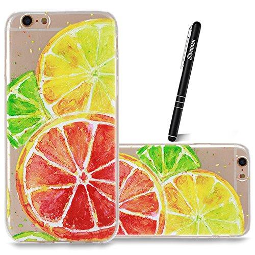 Coque iPhone 6S Plus TPU Bumper Cover,Coque iPhone 6 Plus Case Transparent Slim,Slynmax Cristal Clair Ultra Mince Légère Etui Mode Coloré Motif avec Animal et Fille Couverture Antichoc Anti Scratch So Citron