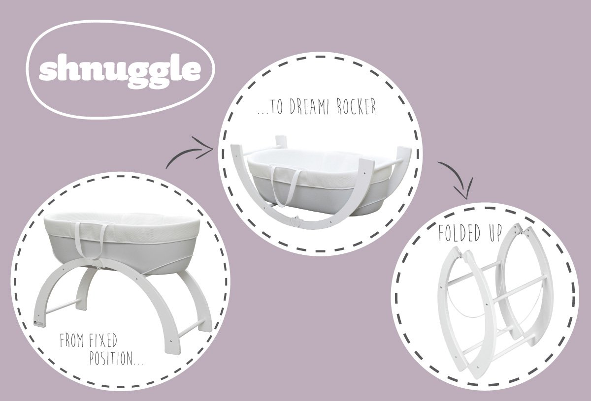 Shnuggle Dreami Moses Basket and Curve Rocking Stand - Pebble Grey  The perfect Moses Basket and Stand to keep baby close, day & night. Breathable 3D Mesh Covers and ventilated base for excellent airflow Quickly change from fixed to rocking position. 2