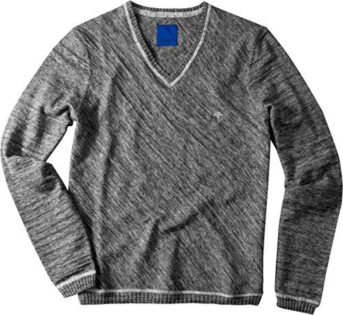 JOOP! Herren Pullover mit V-Ausschnitt Gable Sweater Gemustert, Größe: L, Farbe: Grau (Herren-pullover V-ausschnitt Alpaka-wolle Mit)
