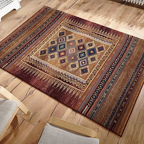 Gabbeh Rug 107 R Tribal Modern Traditional Terracotta Multi 120 x 180cm (4ft x 6ft approx)