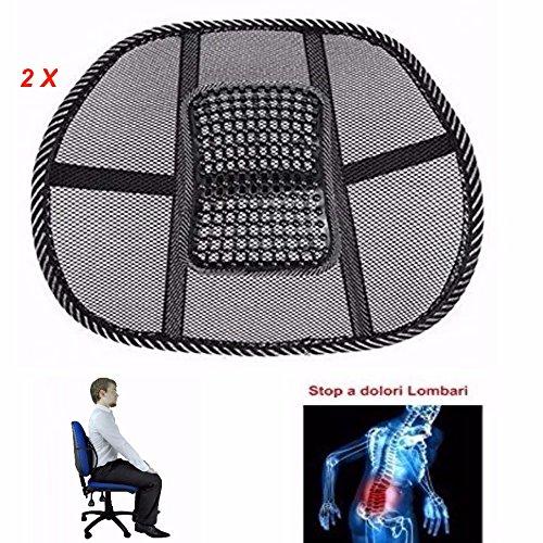 Newsbenessere.com 61jGq8JbnwL DOBO® 2 X Schienale ergonomico supporto per la fascia lombare bassa auto sedia ufficio sedile poltrona correggi postura lombare - Spedito in Blister senza confezione (2 PEZZI)