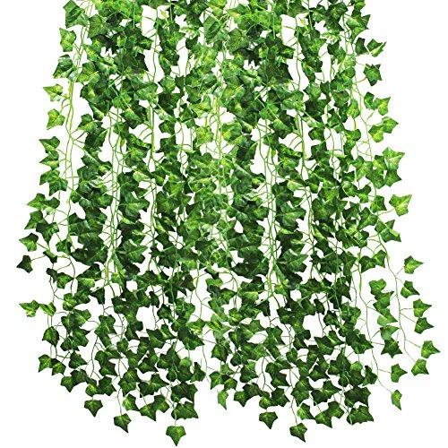 Kbnian 12Pack 84FT Künstliche Laub Grün Blätter Vine Pflanze Ivy Garland Girlande Fake Blattwerk Blumen für Hochzeit Party Garten Wand Dekoration.