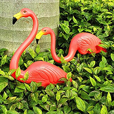 Bluelover 2pcs Garden Decoration Artificial Red Flamingos Courtyard Landscape Ornament by Bluelover