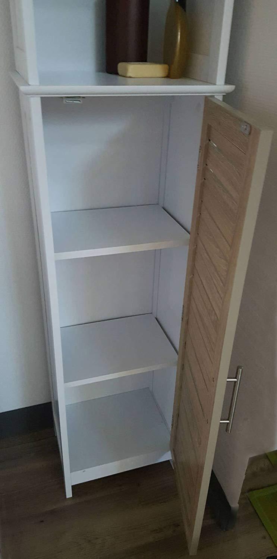 Tendance Juego Mueble Baño Blancos Tipo Roble Envejecido Colección Stockholm (Armario Alto 1 Puerta 3 estantes)