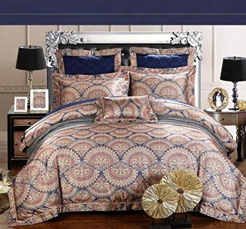 Bettbezug-Sets Washed Seide Jacquard-Bettbezug Hochwertige Retro-Modell-Zimmer Bettwäsche Bettwäsche & Kissenbezüge,D,Queen 200*230cm