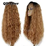 QD-Tizer Ombre Blonde Loose Curly Synthetic Lace Front Wigs with Baby Hair Dark Roots Heat Resistant #1/#27 Long Curly Wigs