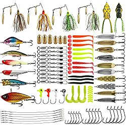 Magreel Kit de Leurre Accessoires de Pêche 110PCS Cuiller Leurre Tournant vers Leurre Souple Grenouille Dure Appât Emerillons Crochets pour Pêche à Leurre Pêcher en Mer en Eau Douce Etang Rivière