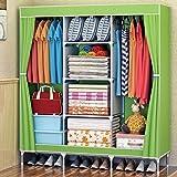 QFF Beweglicher Tuch-Garderoben-Stahlrohr Boldly verstärkte einfache Schrank-Aufbewahrungs-Einbauschränke (Farbe : Grün)