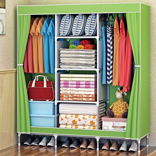 Folding Kleiderschrank MMM& Beweglicher Tuch-Garderoben-Stahlrohr Boldly verstärkte einfache Schrank-Aufbewahrungs-Einbauschränke (Farbe : Grün)