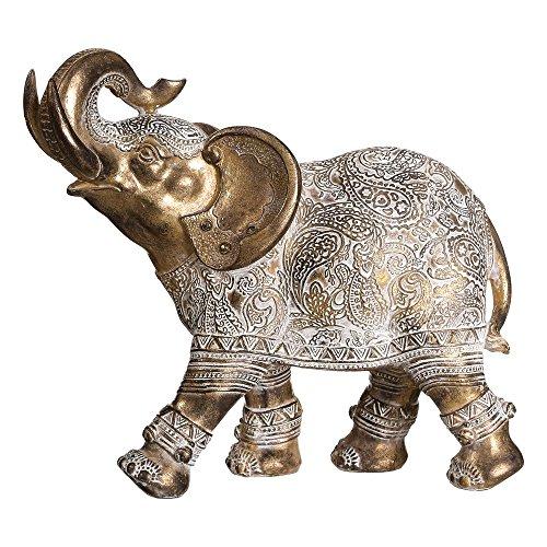 Figura de Elefante Dorada de Resina Oriental para la Entrada Sol Naciente...