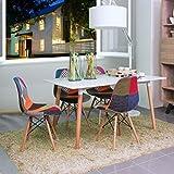 NAKURA - Conjunto de comedor TOWER Patchwork con mesa lacada blanca y 4 sillas eames tapizadas