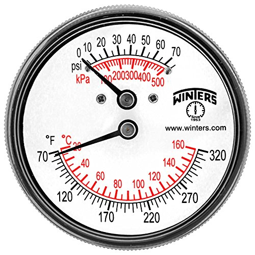 Winters TTD Series Steel Dual Scale Tridicator Thermometer with 2 Stem, 0-75psi/kpa, 2-1/2 Dial Display, 3-2-3% Accuracy, 1/4 NPT Back Mount, 70-320 Deg F/C by Winters - Npt Back Mount