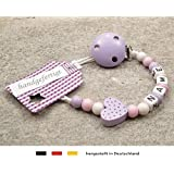 Personalised Baby DUMMY CLIP | Pacifier Holder with preffered name – girls motif lilac heart | Beststeller from Germany