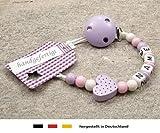 Baby SCHNULLERKETTE mit NAMEN | Schnullerhalter mit Wunschnamen - Mädchen Motiv Herz in flieder