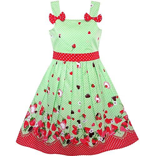Mädchen Kleid Karikatur Polka Punkt Bogen Binden Erdbeere Gr. 86-92 (Kleine Mädchen-kleid)