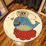 CKH Cartoon Cute Fish Round Carpet Schlafzimmer Kinderzimmer Bettdecke Wohnzimmer Couchtisch Hängekorb Matte Stuhl Computer Stuhl Teppich (Size : Diameter 100cm)