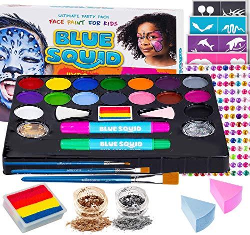 Kinderschminke Set Party Set von Blue Squid 49-teiliges 16-Farben für lebendige Körperbemalungen Haarkreide-Stifte, Gems, Schablonen, Glitzer Schminke, professionelles Pinsel Set, Regenbogen Schminke