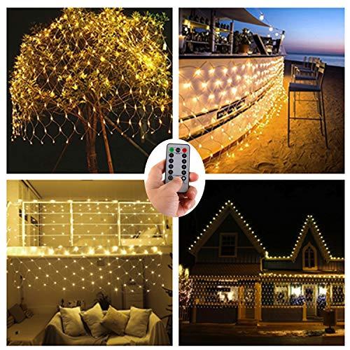 0er LED Lichternetz Lichterketten Netz für Draußen Innenräume,3M x 2M,Deko Leuchte für Weihnachten Hochzeit Schlafzimmer Weihnachten Halloween -Warmweiß,Fernbedienung,Wasserfest ()