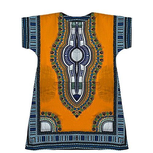 Traditionelle Dashiki (Zuhause & Deco Kleidung Dashiki Afrika Traditionelle Mexikanische Shirt Kaftan für Herren-Damen Licht, Orange/Gelb)