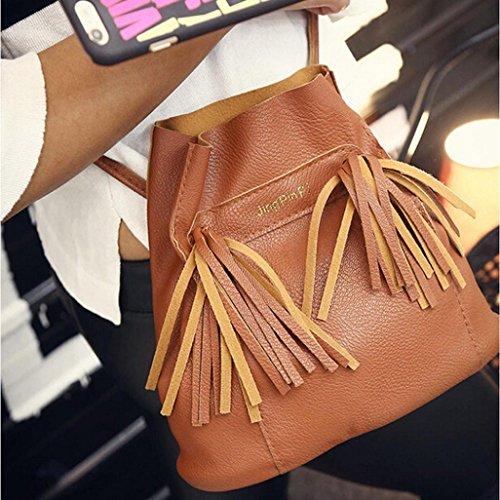 Saingace Frauen-Schulter Crossbody Faux-lederner Tote-Geldbeutel-Kurier-Schultaschen-Beutel Handtaschen Schultertasche Freizeitrucksack Tasche Rucksäcke Braun