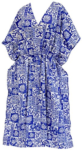 La Leela femmes beachwear robe de maillot de bain maillot de bain à long caftan robe kimono couvrir Bleu