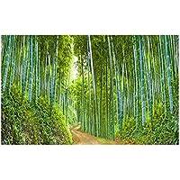 Leo565Tom Acuario pecera Fondo 61 x 30 cm / 91 x 50 cm Pintura Decorativa de PVC Grueso Bosque de bambú Vivo Escena Adhesivo para Acuario océano Paisaje Póster Fondo del Tanque de Peces
