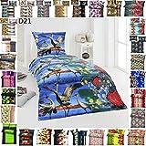 BFW 4 TLG Warme Microfaser Fleece Winter Bettwäsche 135x200 + 80x80 viel Auswahl, Design - Motiv:Design 21