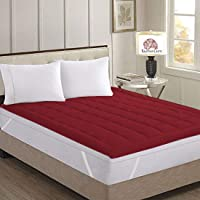 Rajasthan Crafts Mattress Protector Maroon Double Bed Waterproof and Dust Proof (72X78)