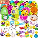 Specifiche:Easter Eggs * 12pcs (cinque colori) + Pasqua Mini Toys Regali * 12pcs (portachiavi, fermagli per capelli, anelli) + adesivi pasquali * 80 pezzi (uovo, fiore, anatroccolo, coniglio, carota, ecc.) SORPRENDENTE: uova di Pasqua per ore...