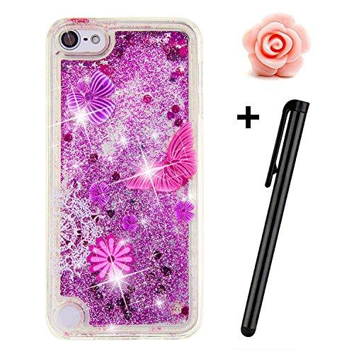 TOYYM - Cover per iPhone SE/5S/5, trasparente, glitter, bollicine galleggianti, cuori dellamore e stelline 3D mobili, in TPU Butterfly