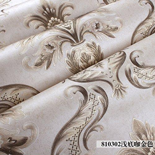 S.Twl.E Kreative_3D Textured Damaskus Continental seichte Kaffee Gold Schlafzimmer Wohnzimmer Einrichtung Non Woven Eco Wallpaper Wandhalterung